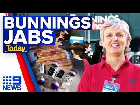 Bunnings opens COVID-19 vaccine hubs in Queensland | Coronavirus | 9 News Australia